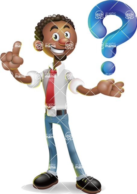 African-American Businessman 3D Vector Cartoon Character - Question