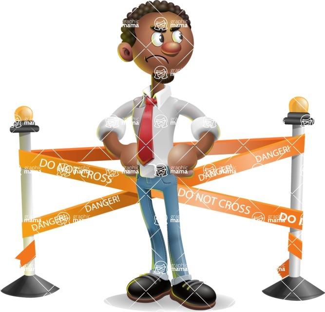 African-American Businessman 3D Vector Cartoon Character - Under Construction 2