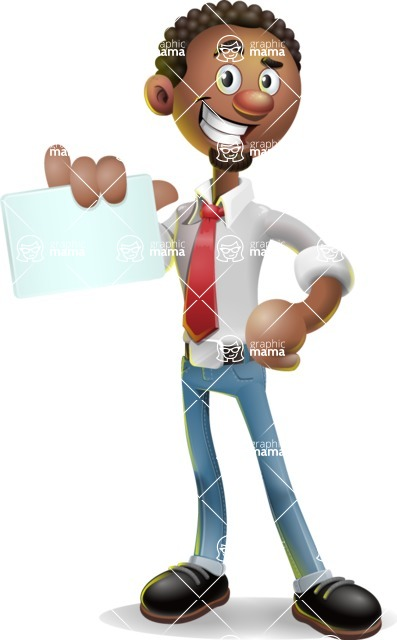 African-American Businessman 3D Vector Cartoon Character - Sign 1
