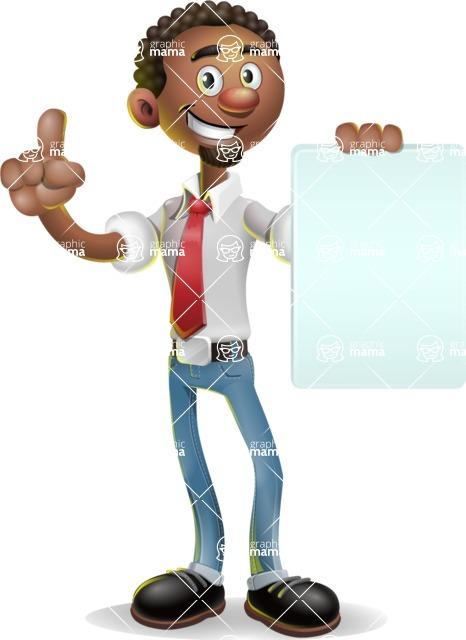 African-American Businessman 3D Vector Cartoon Character - Sign 2