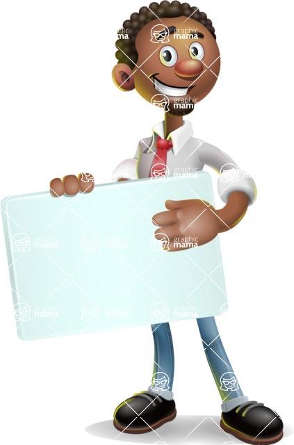 African-American Businessman 3D Vector Cartoon Character - Sign 3
