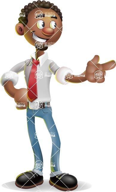 African-American Businessman 3D Vector Cartoon Character - Point