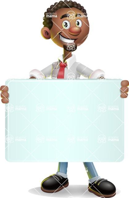African-American Businessman 3D Vector Cartoon Character - Sign 5