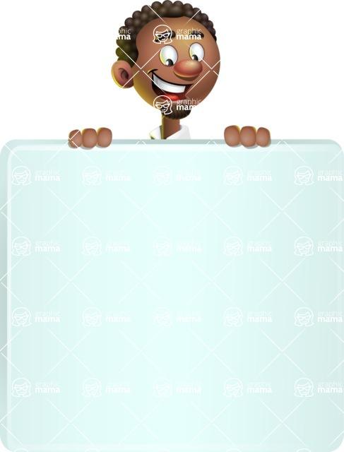 African-American Businessman 3D Vector Cartoon Character - Sign 6