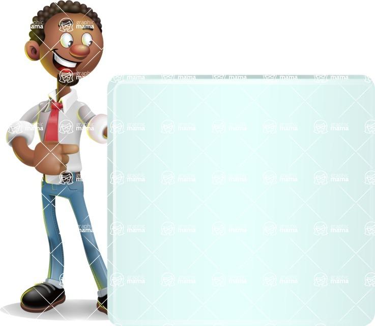 African-American Businessman 3D Vector Cartoon Character - Sign 8