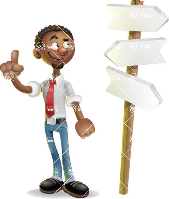 African-American Businessman 3D Vector Cartoon Character - Crossroad