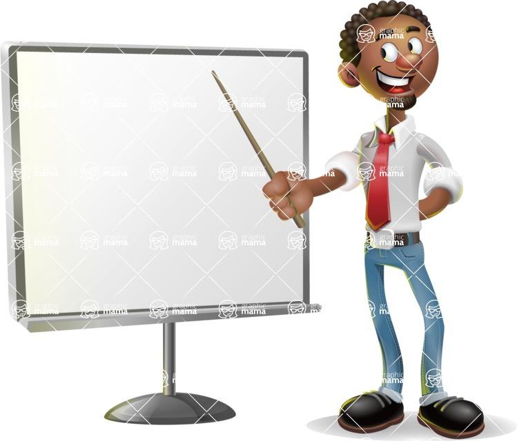African-American Businessman 3D Vector Cartoon Character - Presentation 2