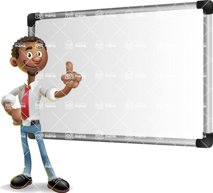 African-American Businessman 3D Vector Cartoon Character - Presentation 3