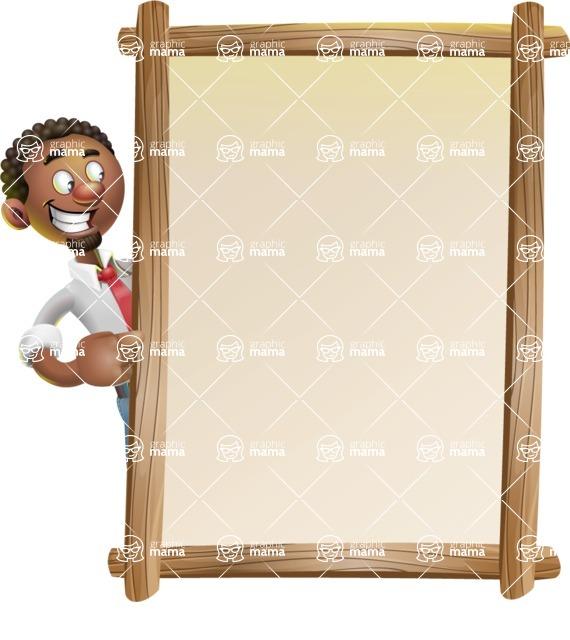 African-American Businessman 3D Vector Cartoon Character - Presentation 4