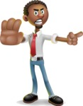 African-American Businessman 3D Vector Cartoon Character - Direct Attention