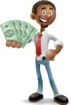 African-American Businessman 3D Vector Cartoon Character - Show me  the Money