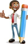 African-American Businessman 3D Vector Cartoon Character - Pencil