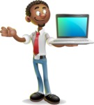 African-American Businessman 3D Vector Cartoon Character - Laptop 3
