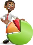 African-American Businessman 3D Vector Cartoon Character - Chart