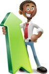 African-American Businessman 3D Vector Cartoon Character - Pointer 1