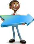 African-American Businessman 3D Vector Cartoon Character - Pointer 2