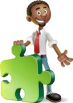 African-American Businessman 3D Vector Cartoon Character - Puzzle