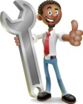 African-American Businessman 3D Vector Cartoon Character - Repair