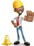 African-American Businessman 3D Vector Cartoon Character - Under Construction 1