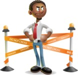 African-American Businessman 3D Vector Cartoon Character - Under Construction 2