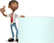 African-American Businessman 3D Vector Cartoon Character - Sign 7