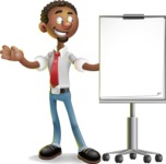 African-American Businessman 3D Vector Cartoon Character - Presentation 1