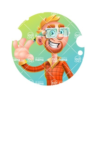 Casual Man with Glasses 3D Vector Cartoon Character AKA Sean Ginger - Shape 1