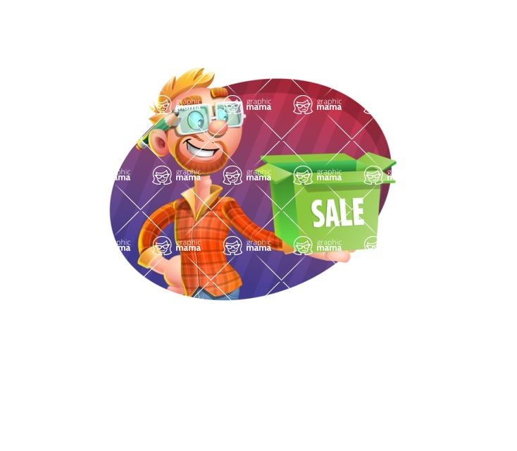 Casual Man with Glasses 3D Vector Cartoon Character - Shape 4