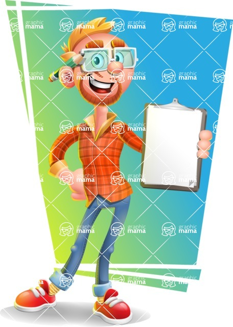 Casual Man with Glasses 3D Vector Cartoon Character - Shape 11