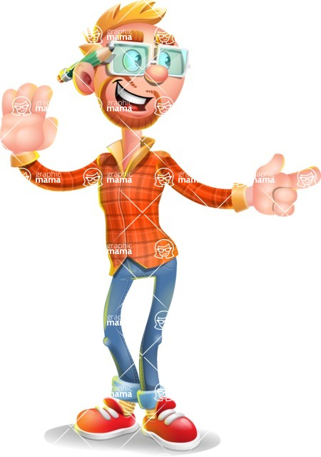 Casual Man with Glasses 3D Vector Cartoon Character AKA Sean Ginger - Direct Attention 2