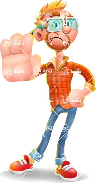 Casual Man with Glasses 3D Vector Cartoon Character - Stop 2