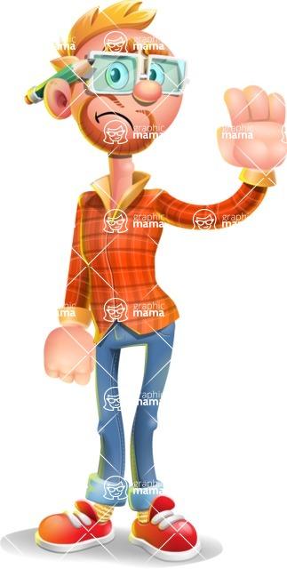 Casual Man with Glasses 3D Vector Cartoon Character AKA Sean Ginger - Goodbye