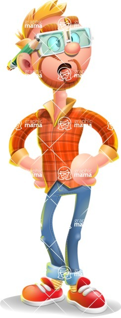 Casual Man with Glasses 3D Vector Cartoon Character - Making Face