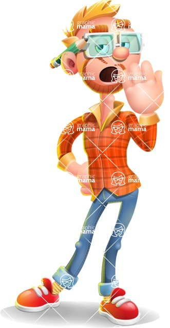 Casual Man with Glasses 3D Vector Cartoon Character - Bored
