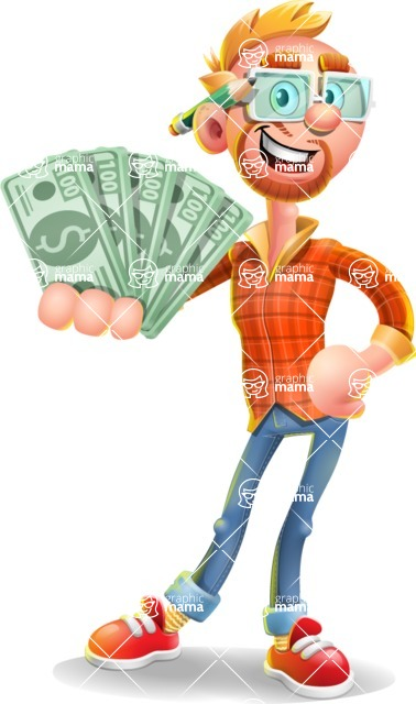 Casual Man with Glasses 3D Vector Cartoon Character - Show me  the Money