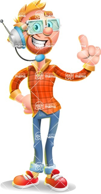 Casual Man with Glasses 3D Vector Cartoon Character AKA Sean Ginger - Support 2
