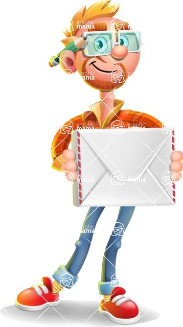 Casual Man with Glasses 3D Vector Cartoon Character AKA Sean Ginger - Letter