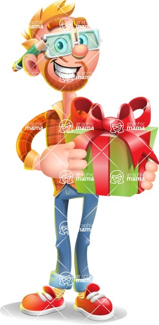 Casual Man with Glasses 3D Vector Cartoon Character - Gift