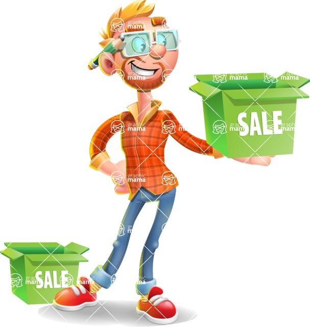 Casual Man with Glasses 3D Vector Cartoon Character - Sale