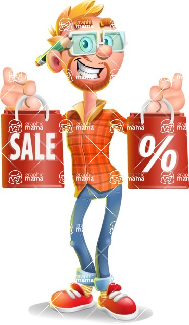 Casual Man with Glasses 3D Vector Cartoon Character - Sale 2