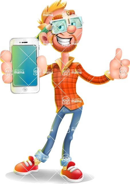 Casual Man with Glasses 3D Vector Cartoon Character - iPhone