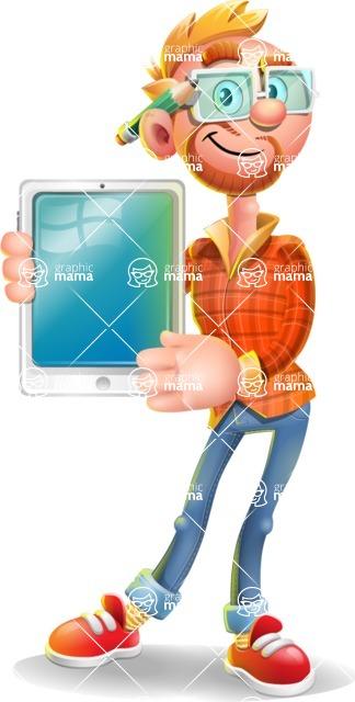 Casual Man with Glasses 3D Vector Cartoon Character - iPad 1