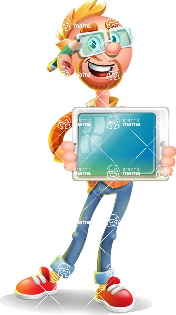 Casual Man with Glasses 3D Vector Cartoon Character - iPad 2