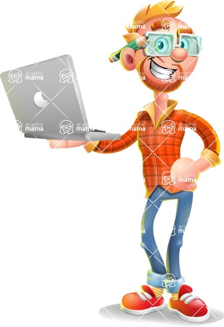 Casual Man with Glasses 3D Vector Cartoon Character - Laptop 1