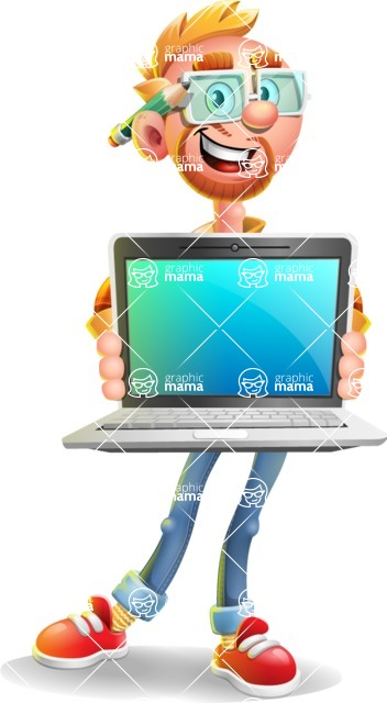 Casual Man with Glasses 3D Vector Cartoon Character - Laptop 2