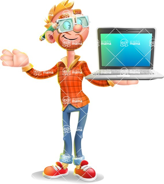 Casual Man with Glasses 3D Vector Cartoon Character - Laptop 3