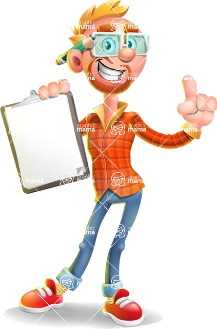 Casual Man with Glasses 3D Vector Cartoon Character - Notepad 1