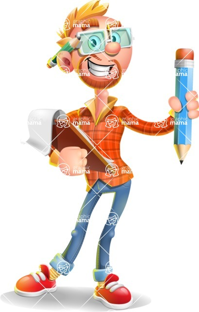 Casual Man with Glasses 3D Vector Cartoon Character - Notepad 3