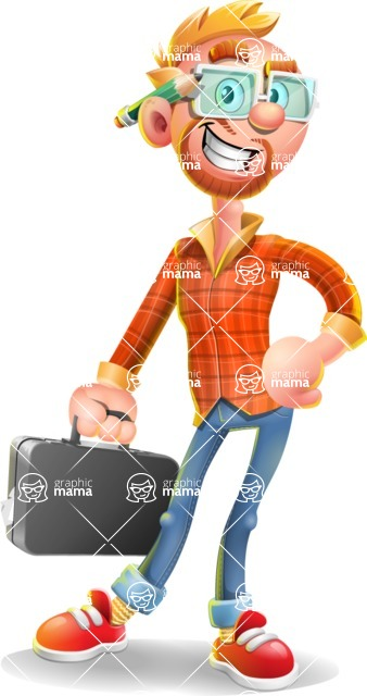 Casual Man with Glasses 3D Vector Cartoon Character - Briefcase 1
