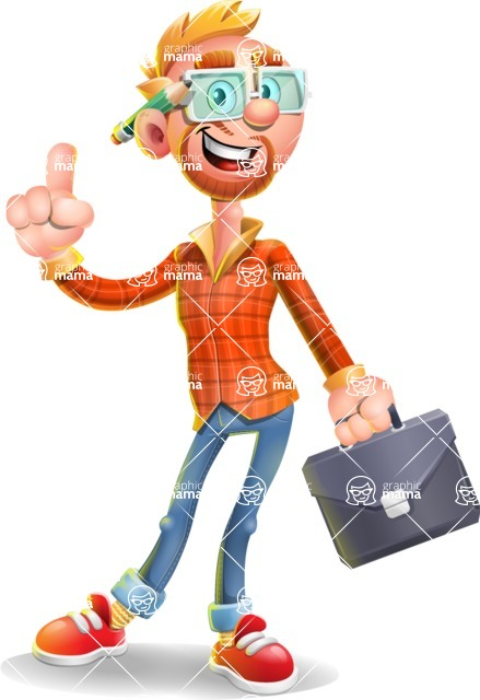 Casual Man with Glasses 3D Vector Cartoon Character - Briefcase 2